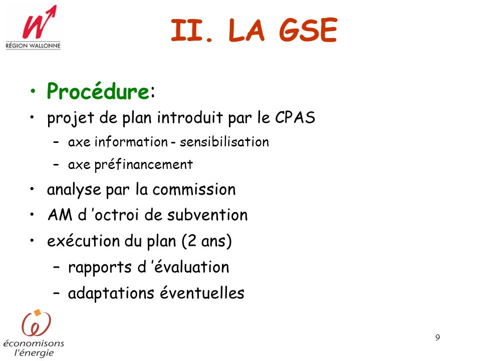 II. LA GSE Procédure: projet de plan introduit par le CPAS