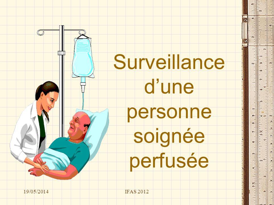 Surveillance d'une personne soignée perfusée