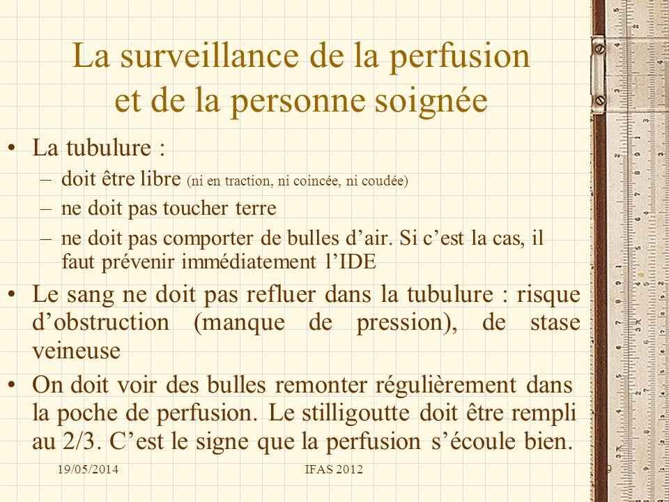 La surveillance de la perfusion et de la personne soignée