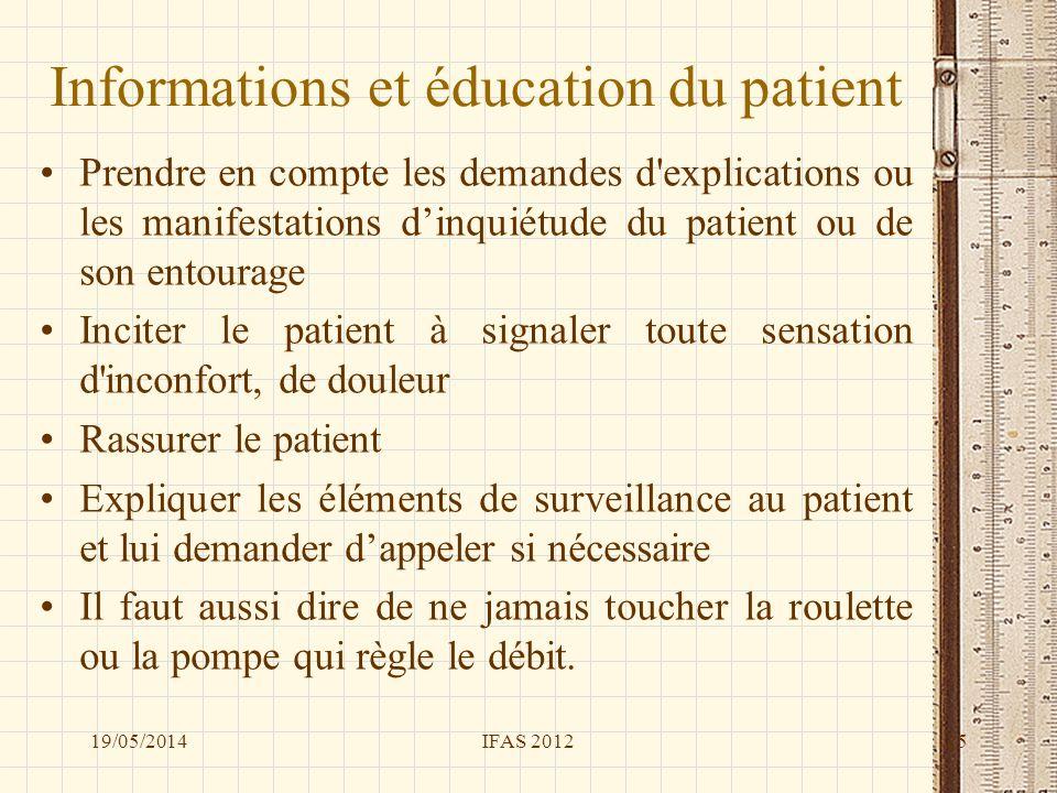 Informations et éducation du patient