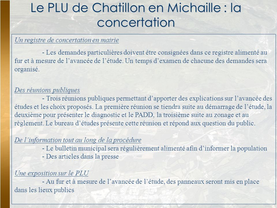 Le PLU de Chatillon en Michaille : la concertation