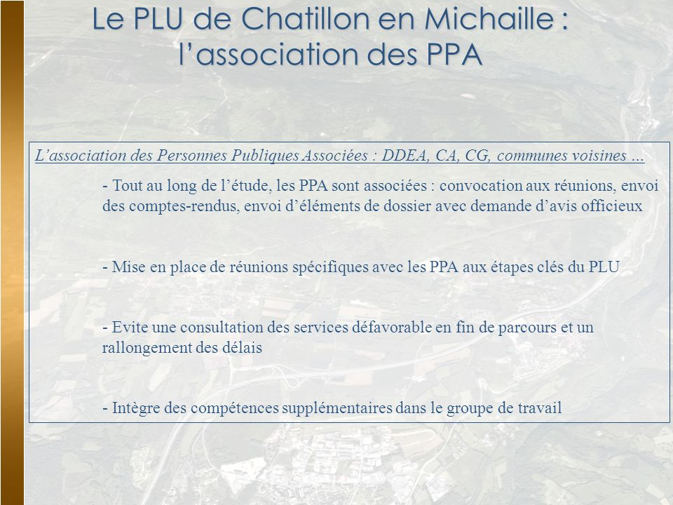 Le PLU de Chatillon en Michaille : l'association des PPA