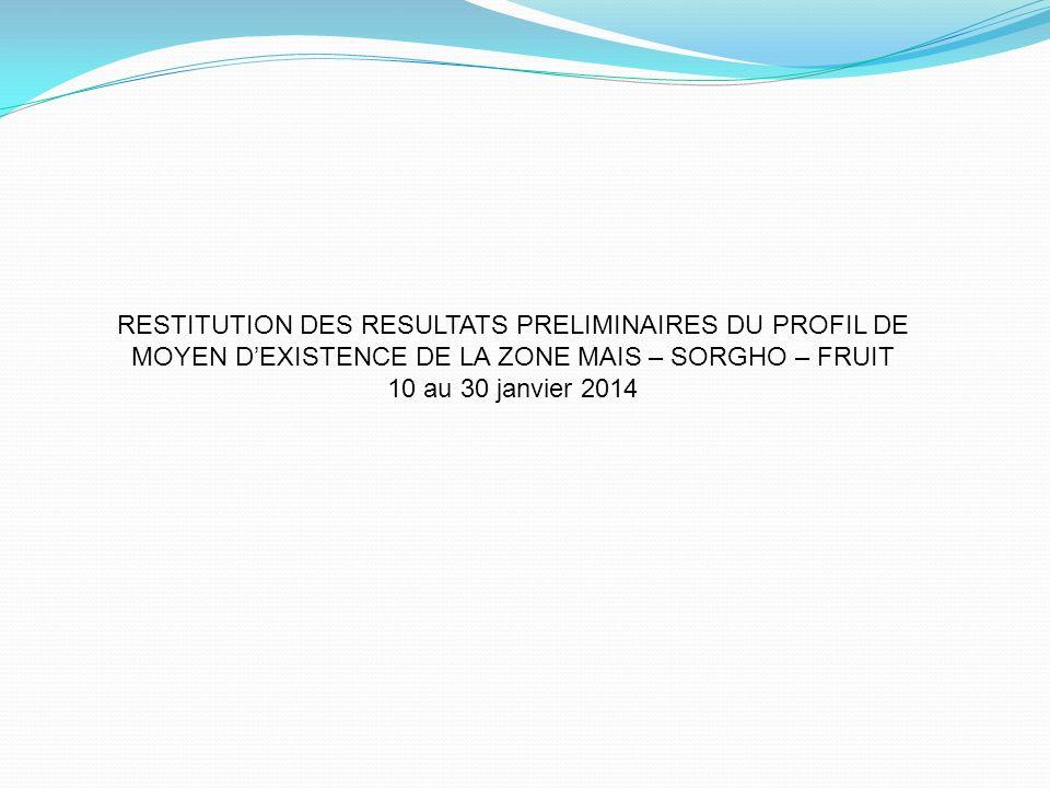 RESTITUTION DES RESULTATS PRELIMINAIRES DU PROFIL DE MOYEN D'EXISTENCE DE LA ZONE MAIS – SORGHO – FRUIT 10 au 30 janvier 2014