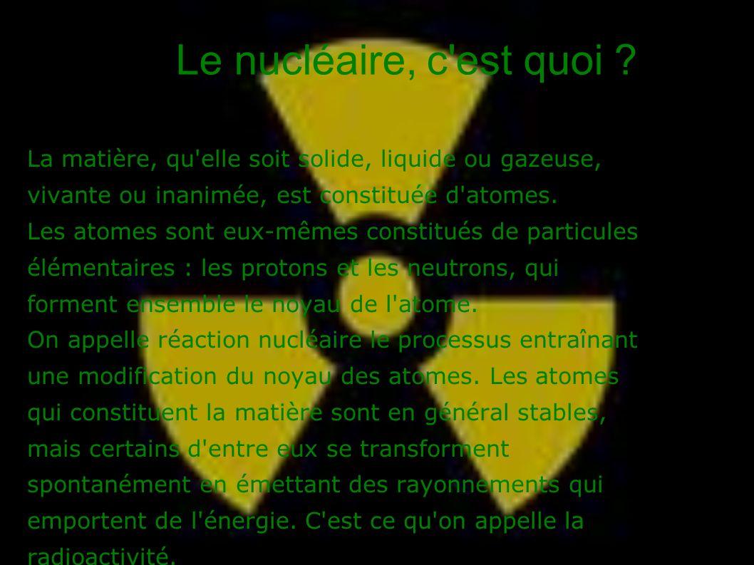 Le nucléaire, c est quoi La matière, qu elle soit solide, liquide ou gazeuse, vivante ou inanimée, est constituée d atomes.