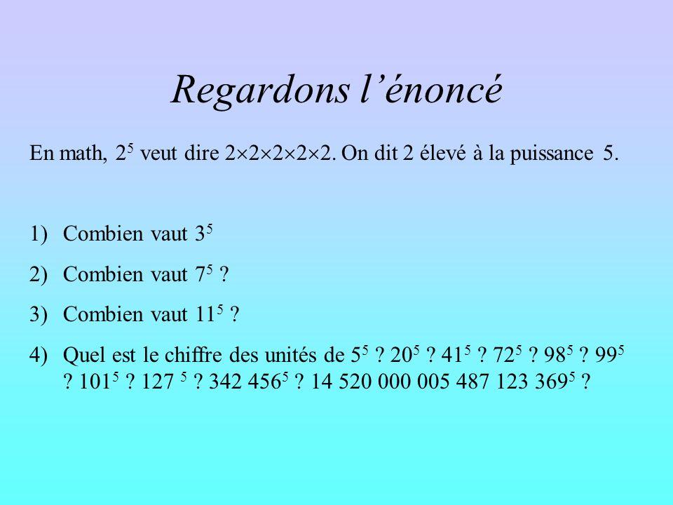 Regardons l'énoncé En math, 25 veut dire 22222. On dit 2 élevé à la puissance 5. Combien vaut 35.
