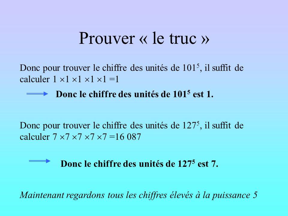 Prouver « le truc » Donc pour trouver le chiffre des unités de 1015, il suffit de calculer 1 1 1 1 1 =1.