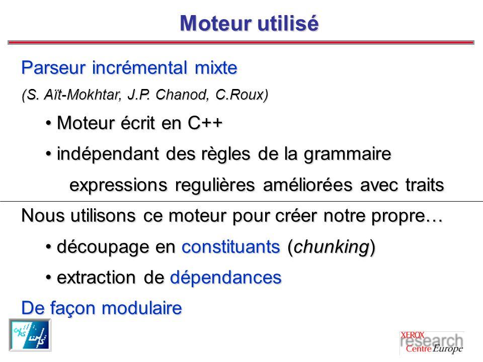 Moteur utilisé Parseur incrémental mixte Moteur écrit en C++