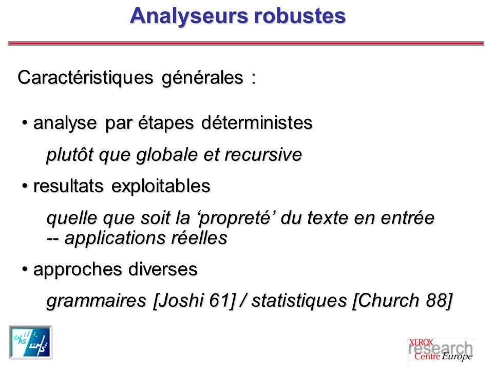 Analyseurs robustes Caractéristiques générales :