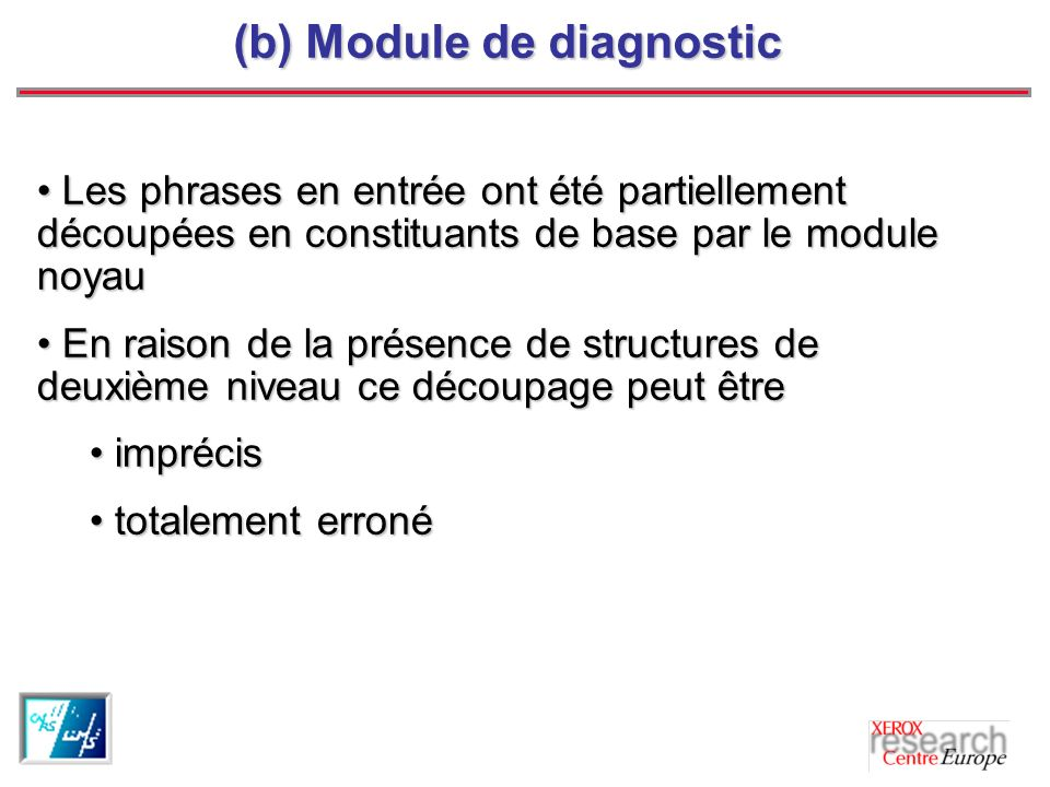 (b) Module de diagnostic