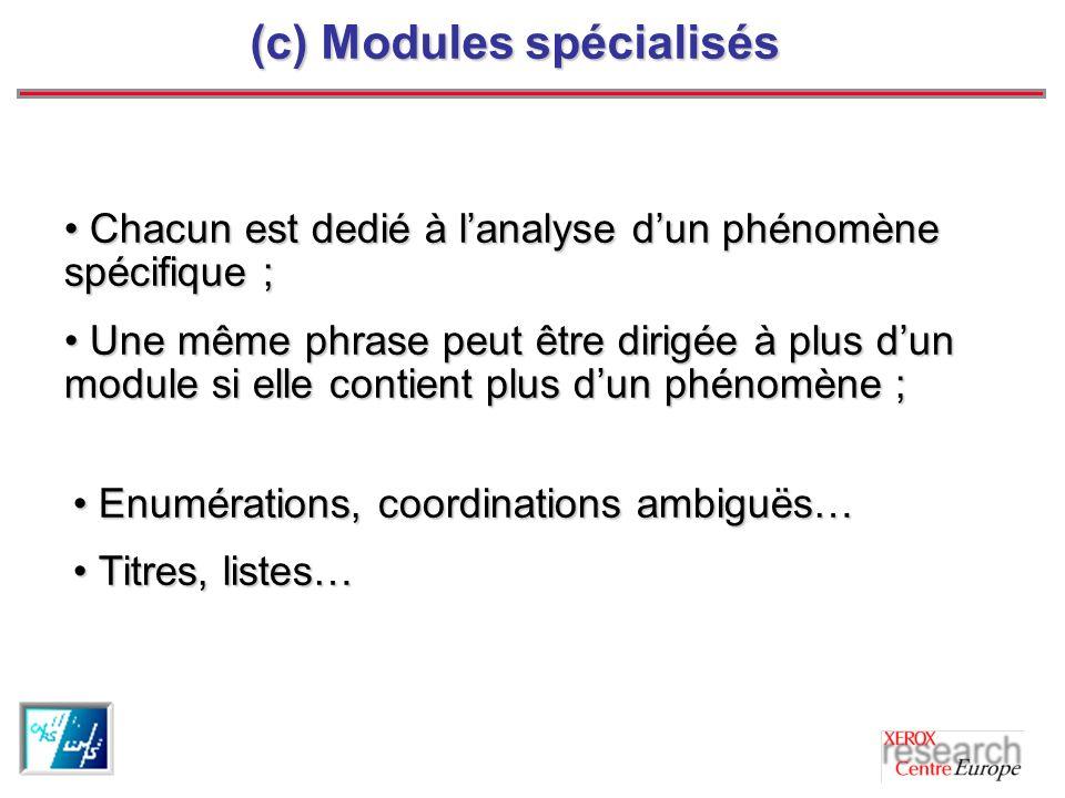 (c) Modules spécialisés