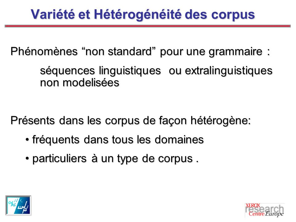 Variété et Hétérogénéité des corpus