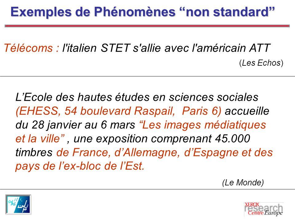 Exemples de Phénomènes non standard