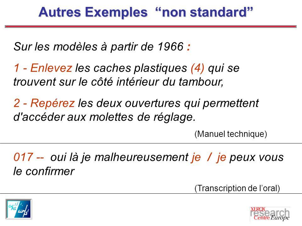 Autres Exemples non standard
