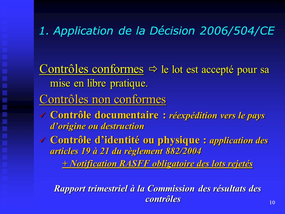 1. Application de la Décision 2006/504/CE