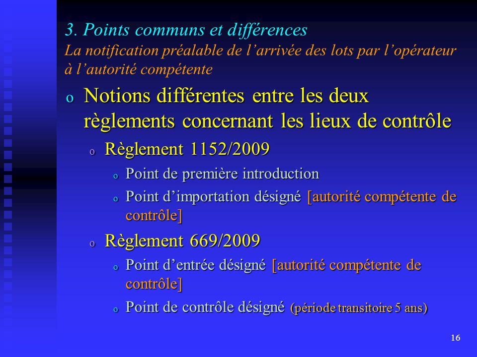 3. Points communs et différences La notification préalable de l'arrivée des lots par l'opérateur à l'autorité compétente