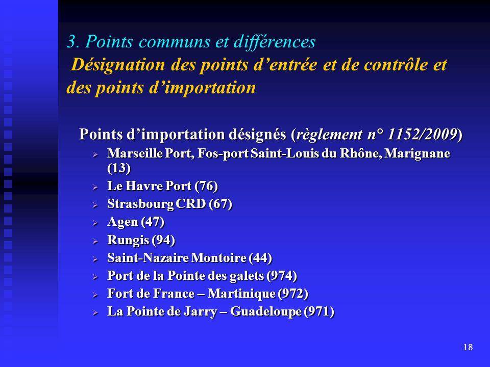 Points d'importation désignés (règlement n° 1152/2009)