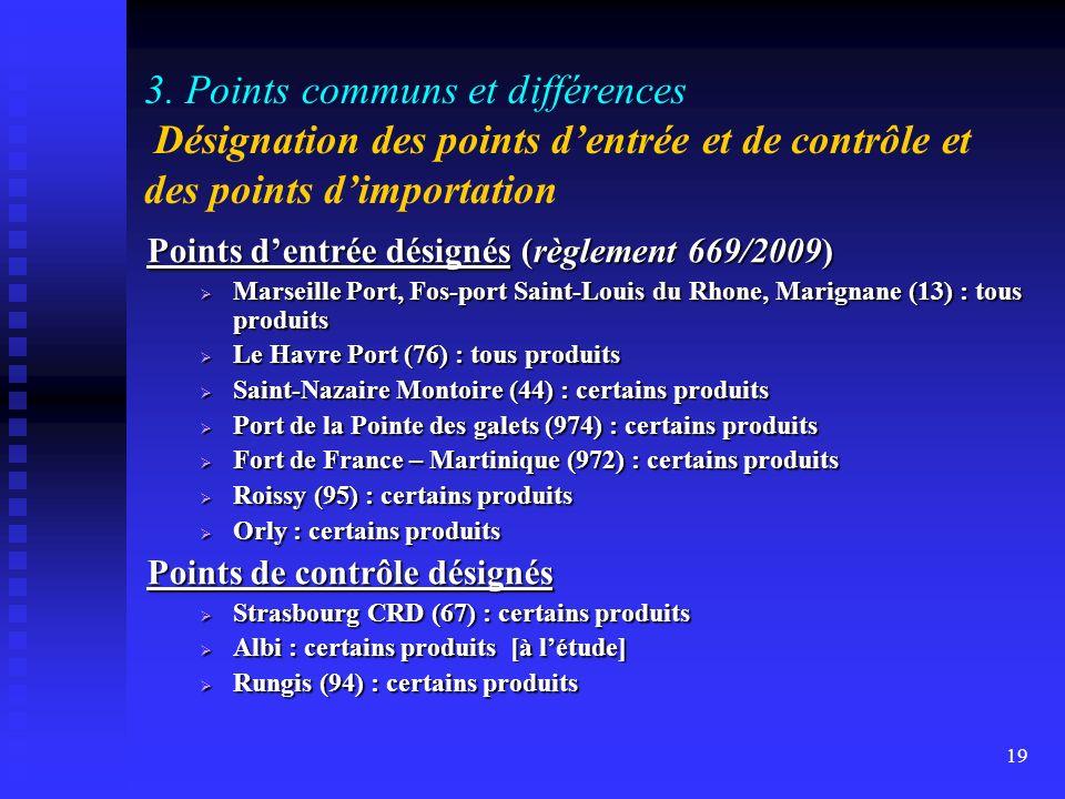 3. Points communs et différences Désignation des points d'entrée et de contrôle et des points d'importation