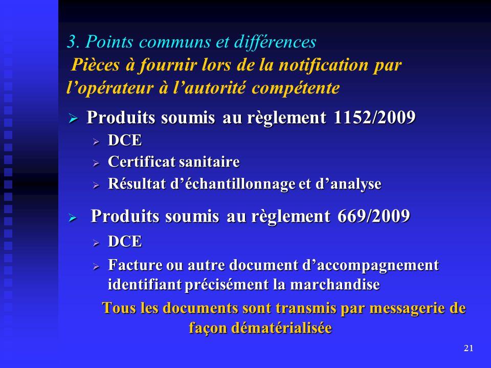 Produits soumis au règlement 1152/2009