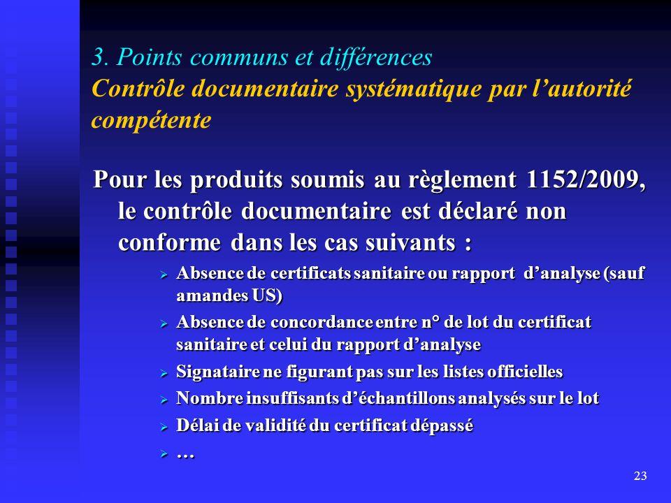 3. Points communs et différences Contrôle documentaire systématique par l'autorité compétente
