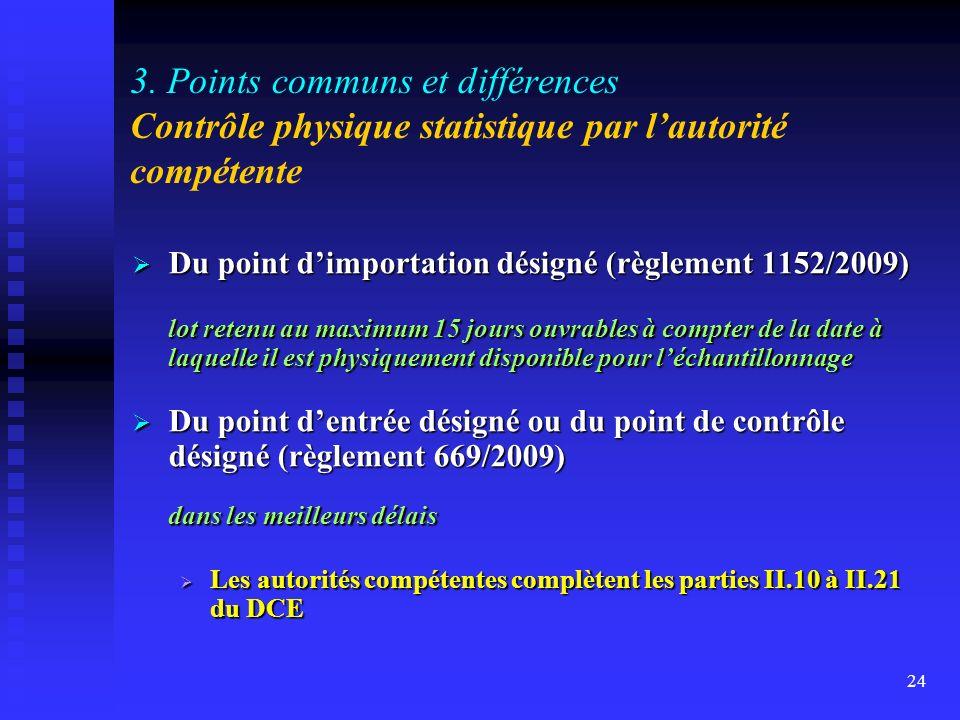 3. Points communs et différences Contrôle physique statistique par l'autorité compétente