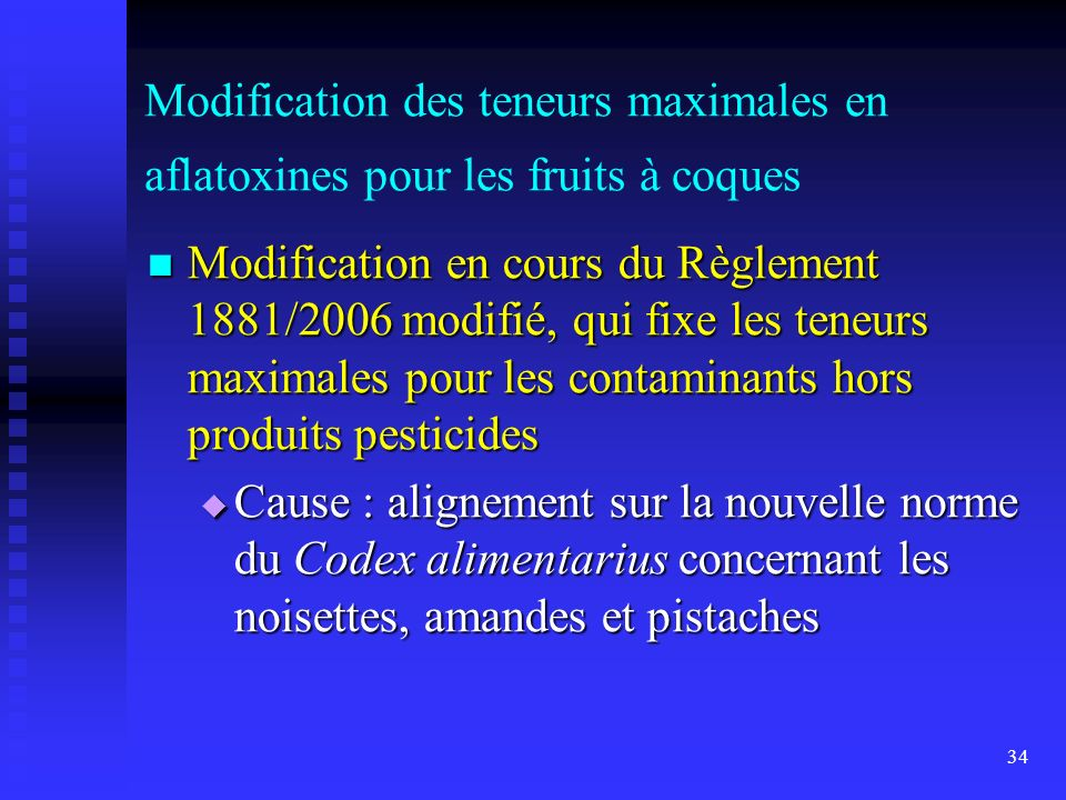 Modification des teneurs maximales en aflatoxines pour les fruits à coques