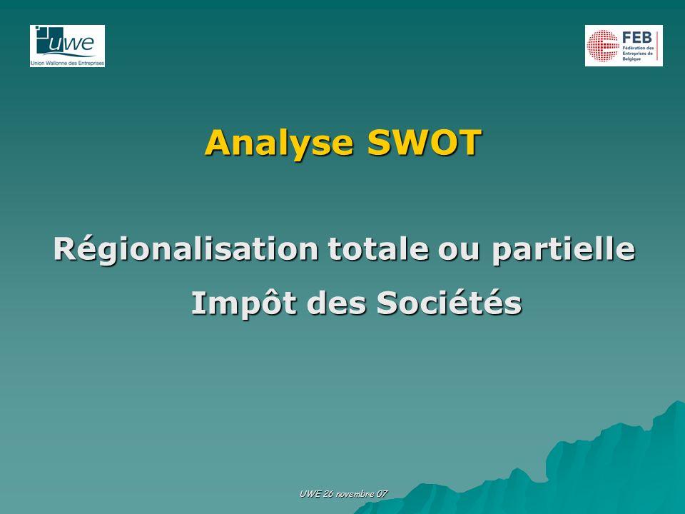 Régionalisation totale ou partielle Impôt des Sociétés