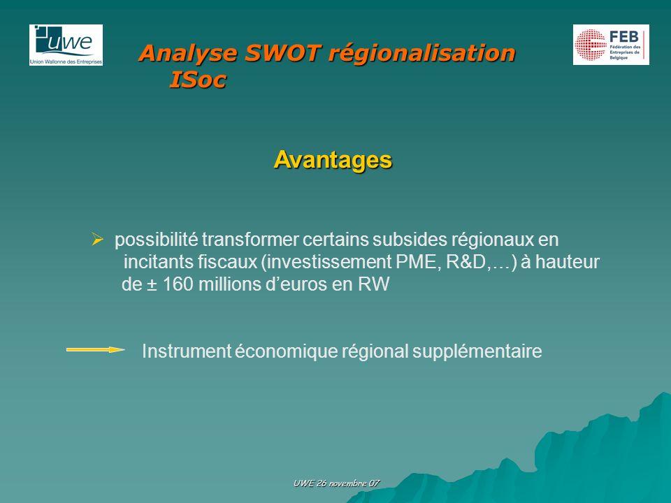 Avantages Analyse SWOT régionalisation ISoc