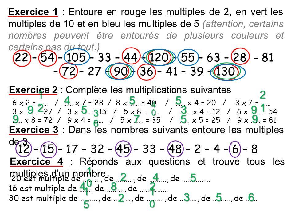 Exercice 1 : Entoure en rouge les multiples de 2, en vert les multiples de 10 et en bleu les multiples de 5 (attention, certains nombres peuvent être entourés de plusieurs couleurs et certains pas du tout.)