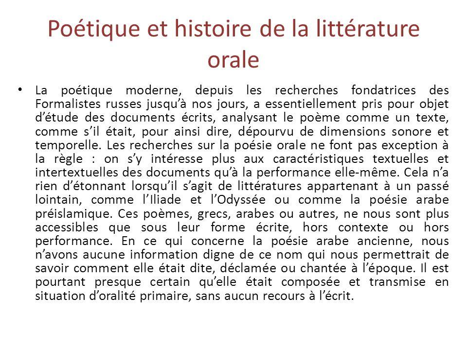 Poétique et histoire de la littérature orale