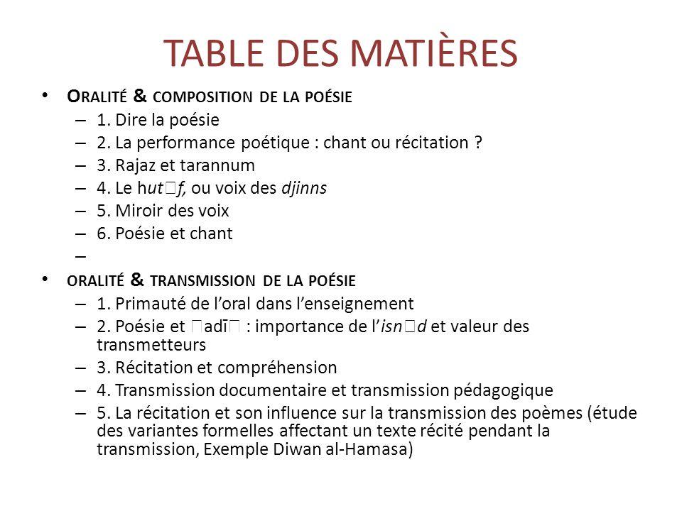 TABLE DES MATIÈRES Oralité & composition de la poésie