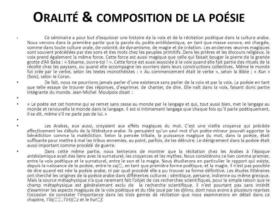 Oralité & composition de la poésie