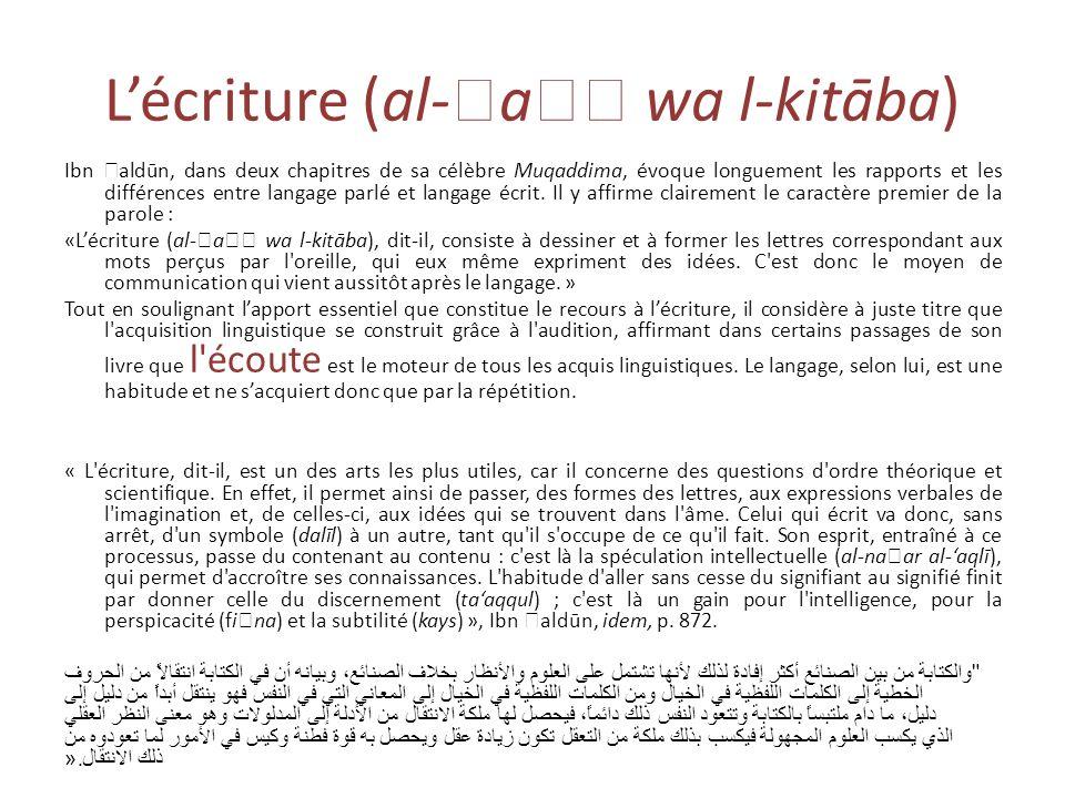 L'écriture (al-a wa l-kitāba)