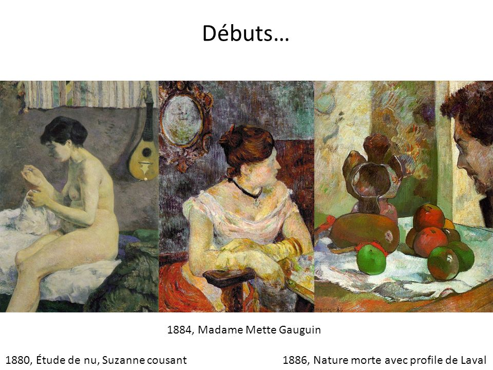 Débuts… 1884, Madame Mette Gauguin 1880, Étude de nu, Suzanne cousant