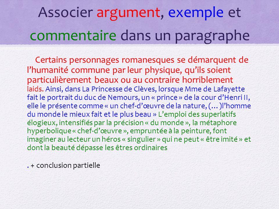Associer argument, exemple et commentaire dans un paragraphe