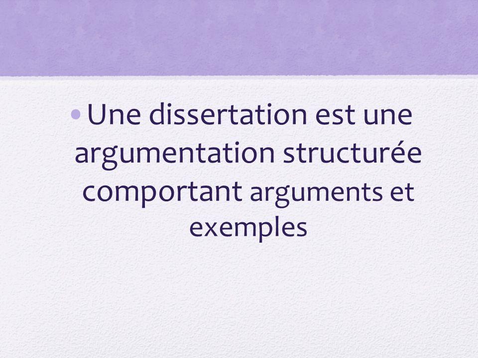 Une dissertation est une argumentation structurée comportant arguments et exemples