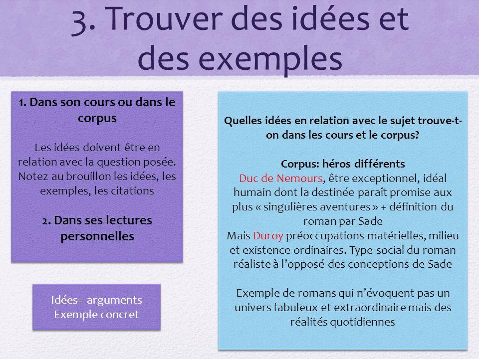 3. Trouver des idées et des exemples