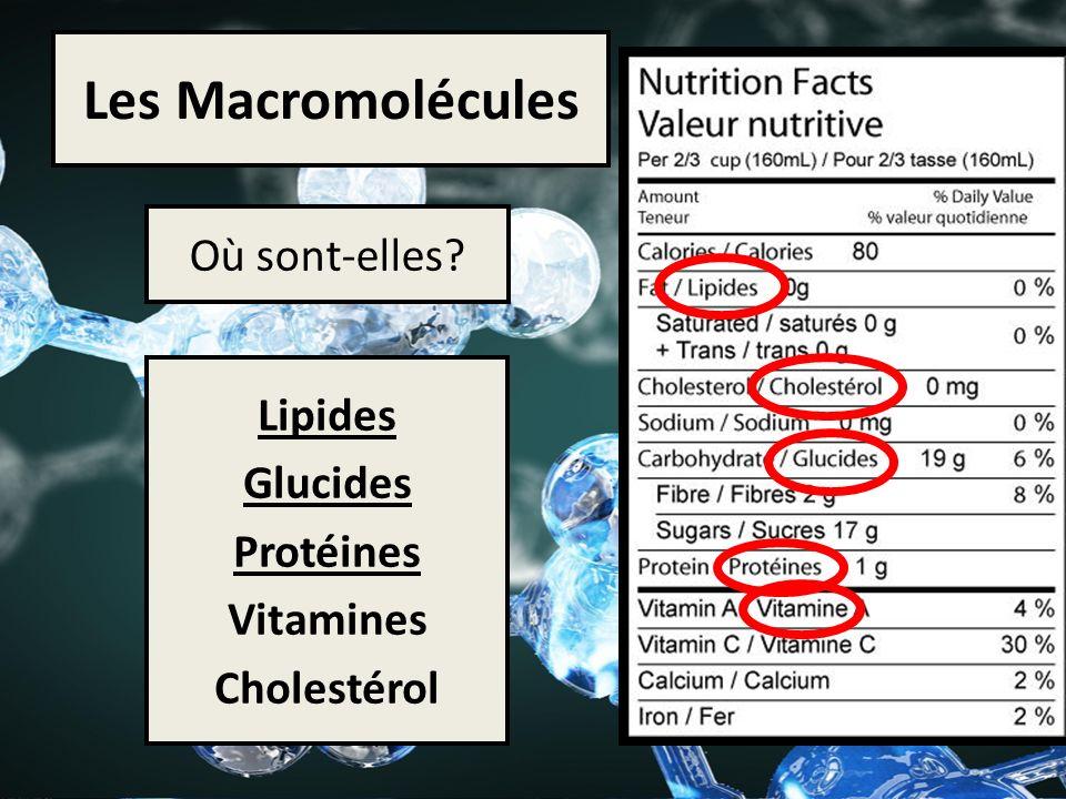 Les Macromolécules Où sont-elles Lipides Glucides Protéines Vitamines