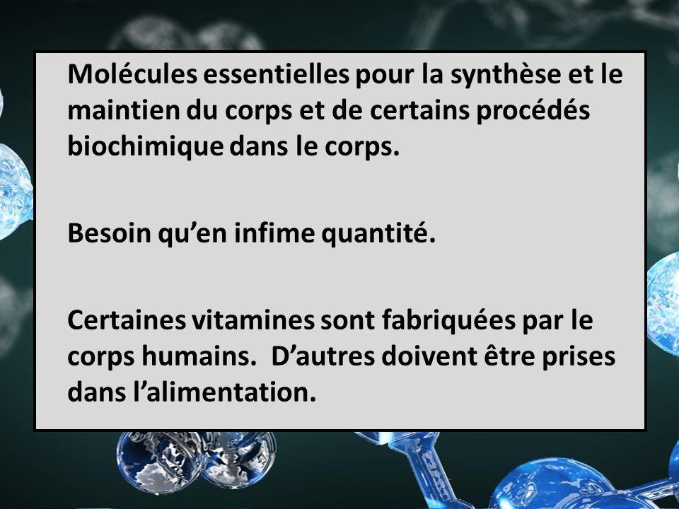 Molécules essentielles pour la synthèse et le maintien du corps et de certains procédés biochimique dans le corps.