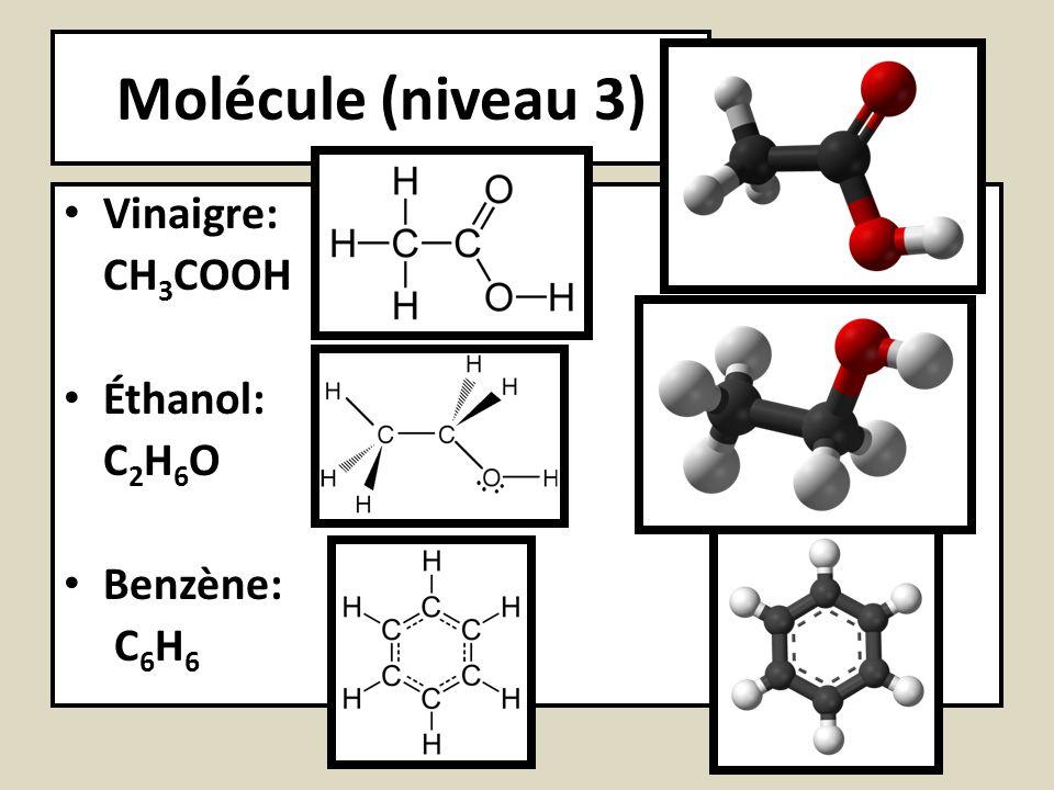 Molécule (niveau 3) Vinaigre: CH3COOH Éthanol: C2H6O Benzène: C6H6
