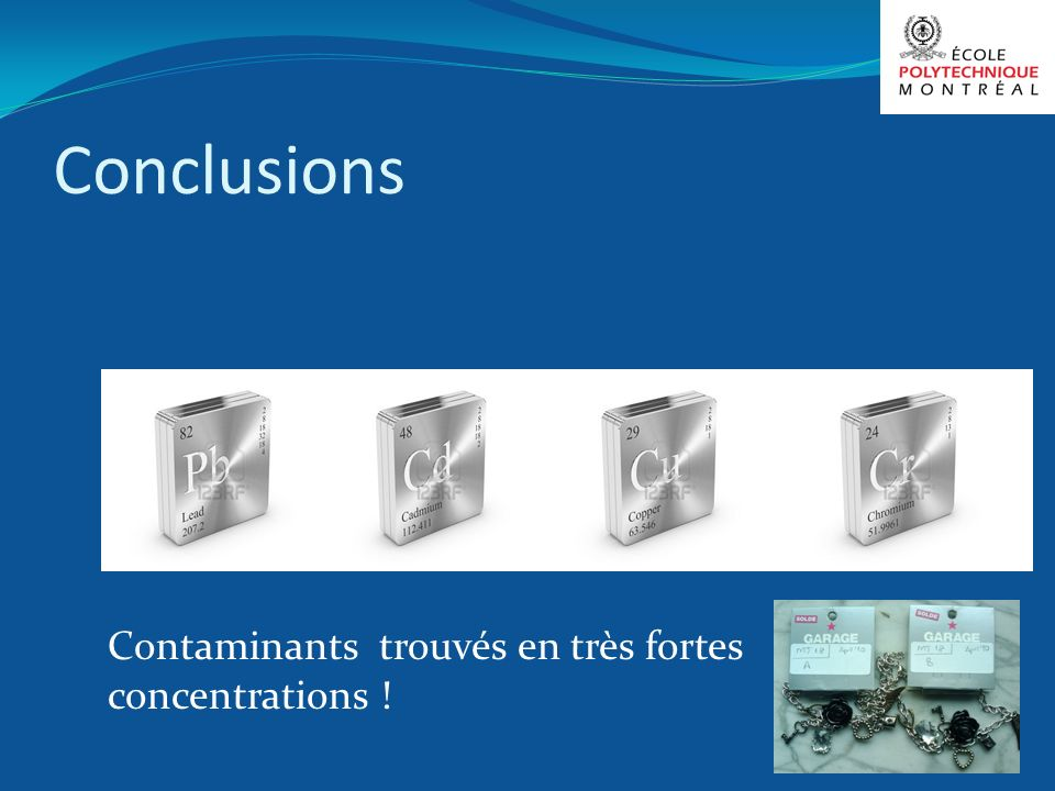 Conclusions Contaminants trouvés en très fortes concentrations !