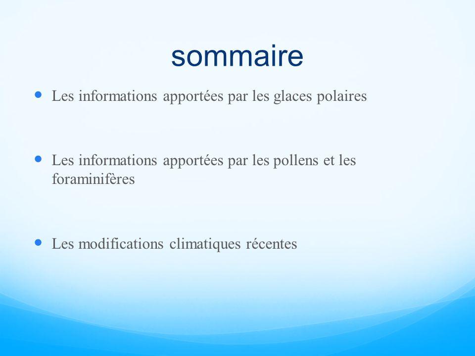 sommaire Les informations apportées par les glaces polaires