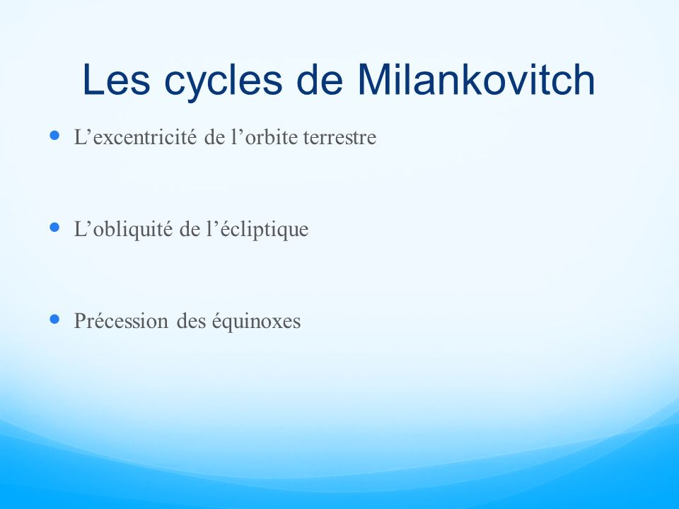 Les cycles de Milankovitch