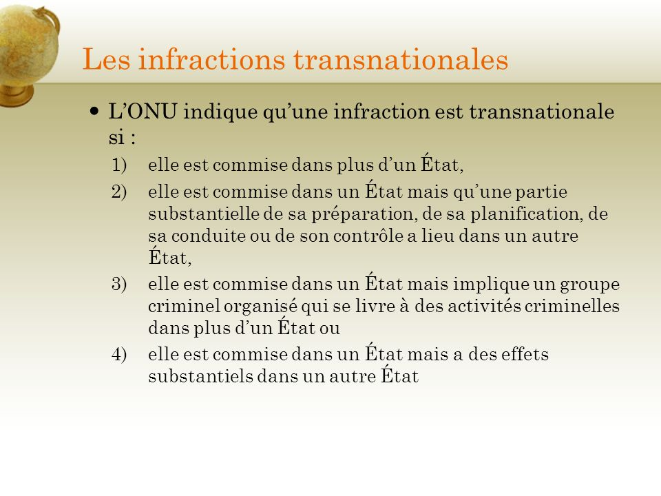 Les infractions transnationales
