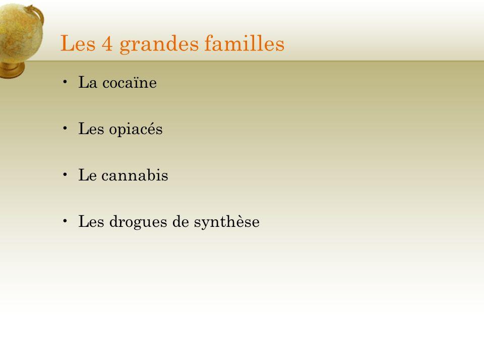 Les 4 grandes familles La cocaïne Les opiacés Le cannabis