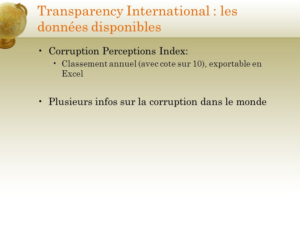 Transparency International : les données disponibles