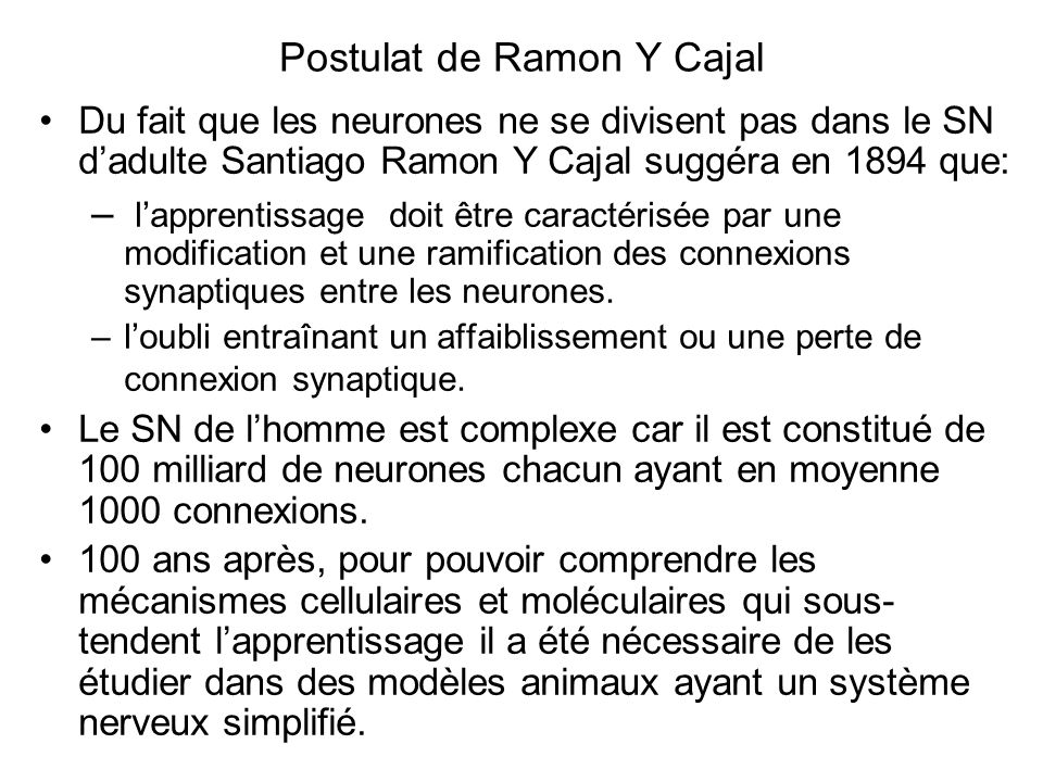 Postulat de Ramon Y Cajal