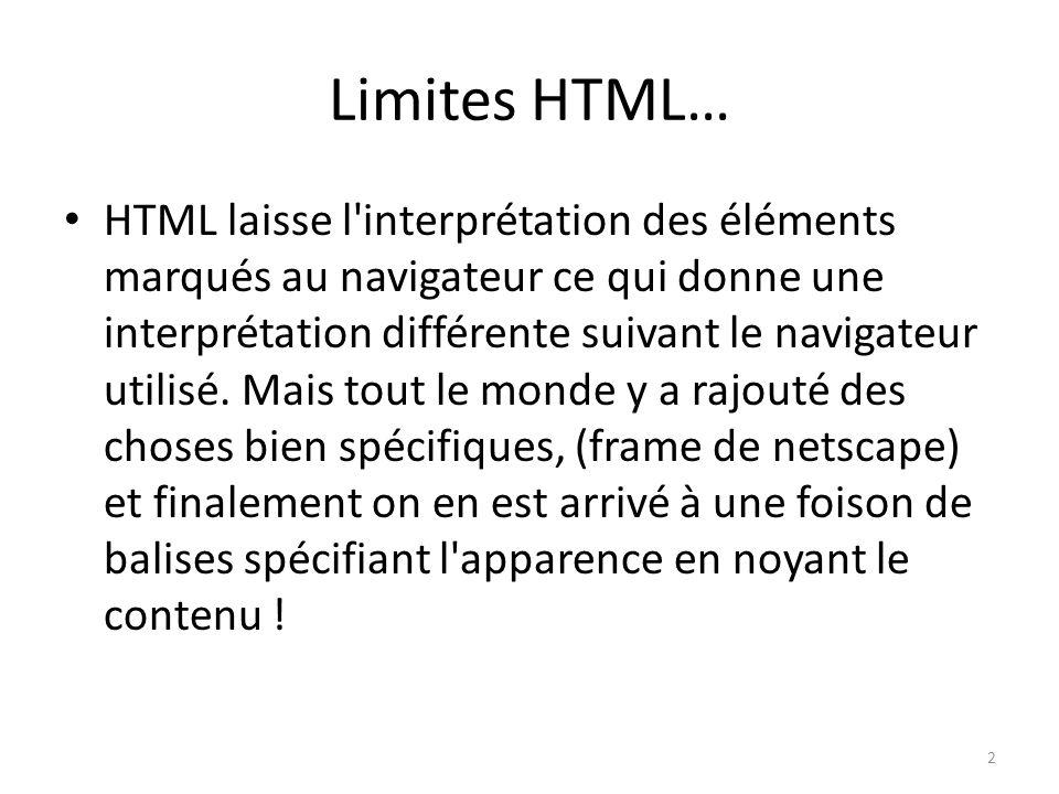 Limites HTML…