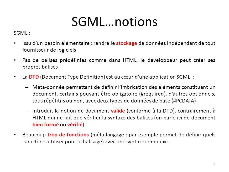 SGML…notions SGML : Issu d'un besoin élémentaire : rendre le stockage de données indépendant de tout fournisseur de logiciels.