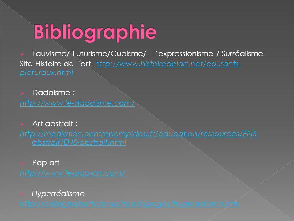 Bibliographie Fauvisme/ Futurisme/Cubisme/ L'expressionisme / Surréalisme.