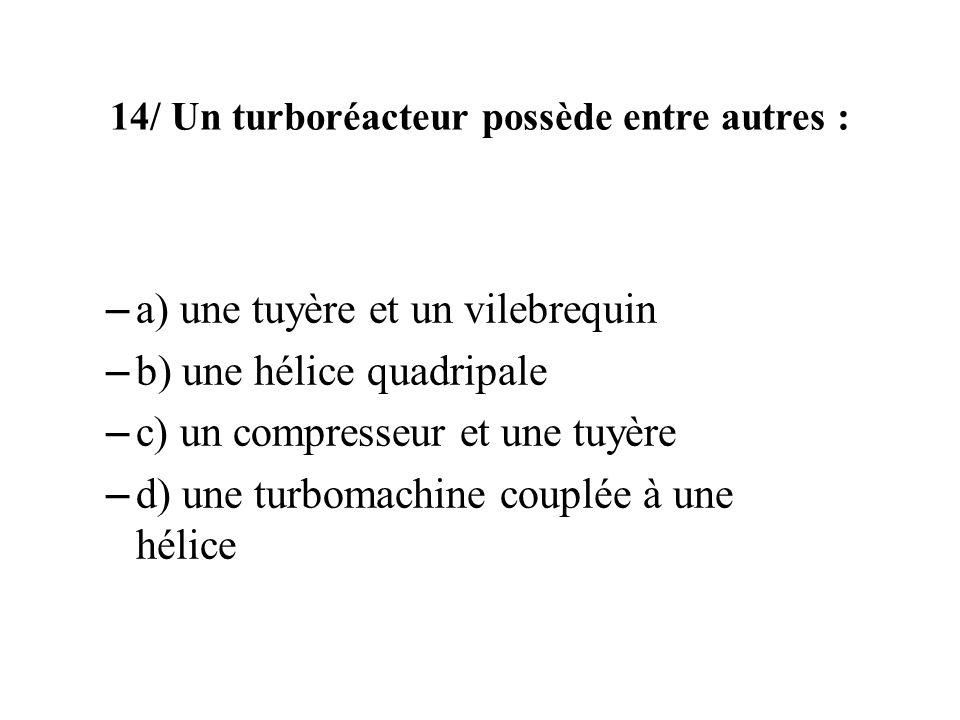 14/ Un turboréacteur possède entre autres :